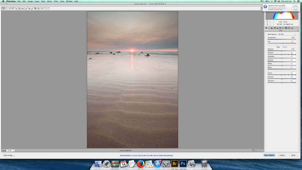 An uncorrected RAW file straight from the camera